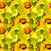 Floral sunflower and leafs seamless pattern background Piirros