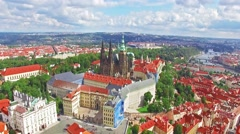 Church Saint Vitus, Ventseslaus and Adalbert and Area Lesser Town of Prague.  Stock Footage