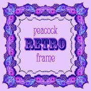 Violet frame with painted peacock feathers and retro label - stock illustration