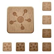 Connect wooden buttons - stock illustration