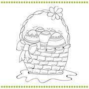Outlined Easter basket of eggs - stock illustration