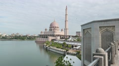 Floating mosque by the lake at putrajaya Stock Footage