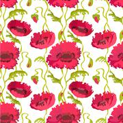 Seamless pattern of poppies stems, leaves and buds isolated. - stock illustration