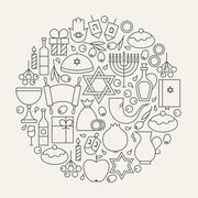 Happy Hanukkah Holiday Line Icons Set Circular Shaped - stock illustration