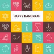 Line Art Happy Hanukkah Jewish Holiday Icons Set - stock illustration