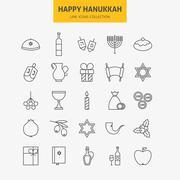 Line Jewish Happy Hanukkah Icons Big Set Stock Illustration