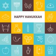 Thin Line Art Happy Hanukkah Jewish Holiday Icons Set Stock Illustration