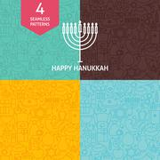 Thin Line Happy Hanukkah Holiday Patterns Set Stock Illustration