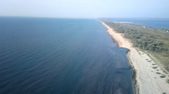 Birds-eye panorama road to Crimea to Kerch Strait Stock Footage