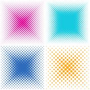 Backgrounds collection with halftone effect - stock illustration