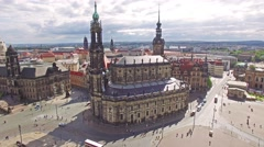 Theatre Square (Theaterplatz) in the historic center of Dresden,to the right- Stock Footage