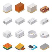 Construction materials isometric icon set - stock illustration