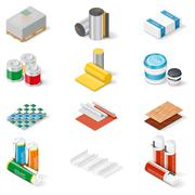 Decoration and insulation materials isometric icon set - stock illustration