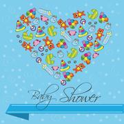 Baby Shower Invitation Card in Vector - stock illustration