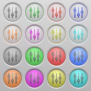 Vertical adjustment plastic sunk buttons Stock Illustration