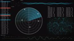 Radar GUI screen loopable technology background 4k (4096x2304) Stock Footage