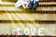 Young wedding couple on summer Stock Photos