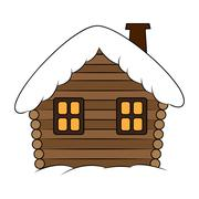 House with snow cartoon illustration. Winter snowy Christmas home, cottage is - stock illustration