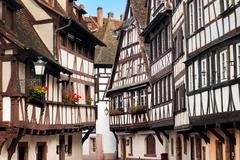 Traditional half-timbered houses in the old town of Strasbourg, Alsace, Franc - stock photo