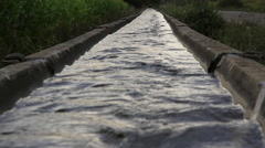 Irrigation Canal in a cornfield Stock Footage