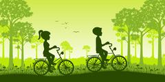 Two people ride a bike through the countryside - stock illustration