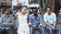 multi-ethnic boys relaxed slow motion - stock footage