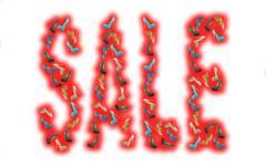 SALE red word made of woman shoes - stock illustration