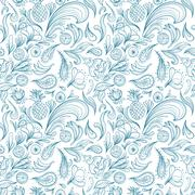 Stock Illustration of Tropical Outline Vector Pattern