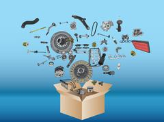 Many spare parts flying out of the box - stock illustration