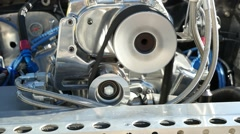 Close up engine detail on an American race car Stock Footage