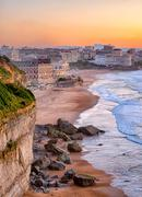 Sunset over Biarritz beach, France - stock photo