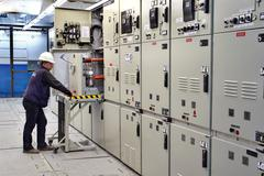 Switch room, electrical engineer control switchgear panel. - stock photo
