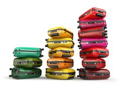 Heap of baggage.Travel or tourism development concept. Grouth of amount of tr - stock illustration