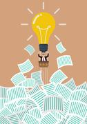 Businessman on lightbulb balloon get away from a lot of documents - stock illustration