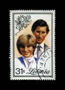 Lady Diana Spencer, Princess Of Wales, Prince Charles, postal stamp, circa 1982. - stock photo