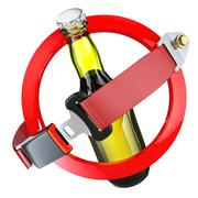 No alcohol sign concept. Bottle of beer and safety belt isolated on white Stock Illustration