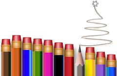 The concept of multi-colored pencils with tree - stock illustration