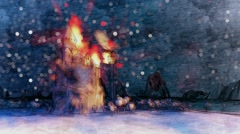 Dragons flying around burning castle in dark forest Winter snowfall Stock Footage