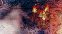 Dragons flying around burning cartoon castle Top view Stock Footage