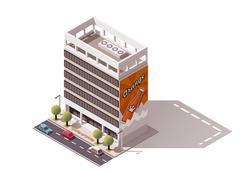 Vector isometric building - stock illustration