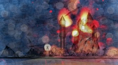 Dragons flying around burning castle on river bay Forest Wintertime Stock Footage