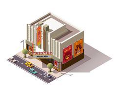 Vector isometric cinema Stock Illustration