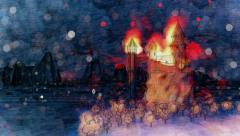Dragons flying around burning cartoon castle. Mountain bay landscape. Stock Footage