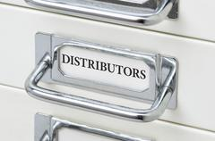 A drawer cabinet with the label Distributors - stock photo