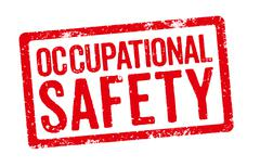 Red stamp on a white background - Occupational Safety - stock photo