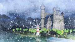 Medieval castle on river coast. Light house. Hard raining. - stock footage