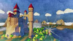 Cartoon medieval castle. River coast with light house. Sunrset. Stock Footage