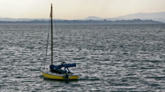 Anchored Sail Boat Stock Footage