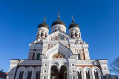 Domes of Alexander Nevsky Cathedral in Tallinn - stock photo