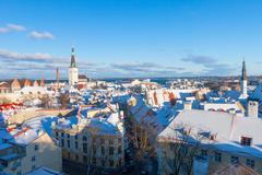Tallinn winter city panoramic landscape - stock photo